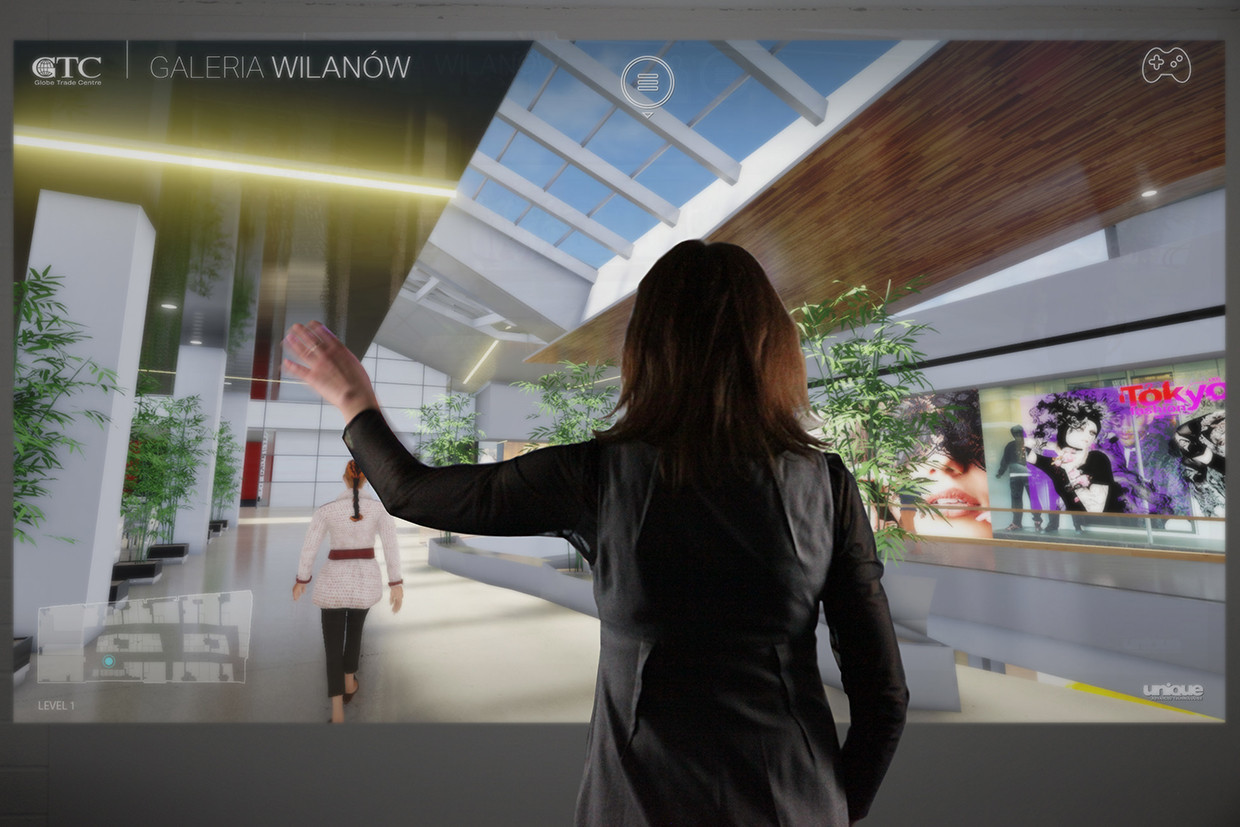 interactive Virtual Reality Walk shopping mall